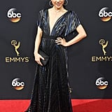 Walking the 2016 Emmys red carpet in a J. Mendel gown.
