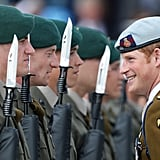 Prince Harry laughed with some of the marines at the Royal Marines Tamar naval base.