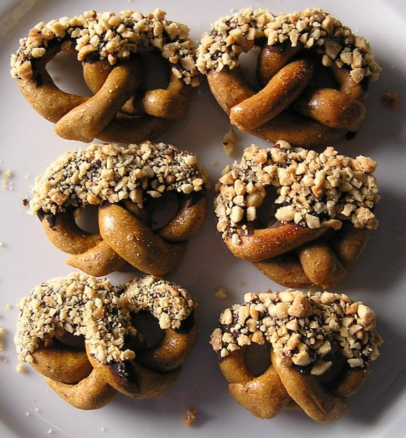 Pretzels are a coffee-table mainstay, and your pup can dig into his own bowl of Bone Bons organic peanut-butter-and-pumpkin pretzel treats. Dipped in carob and crushed peanuts, he'll forget all about your boring salted twists.