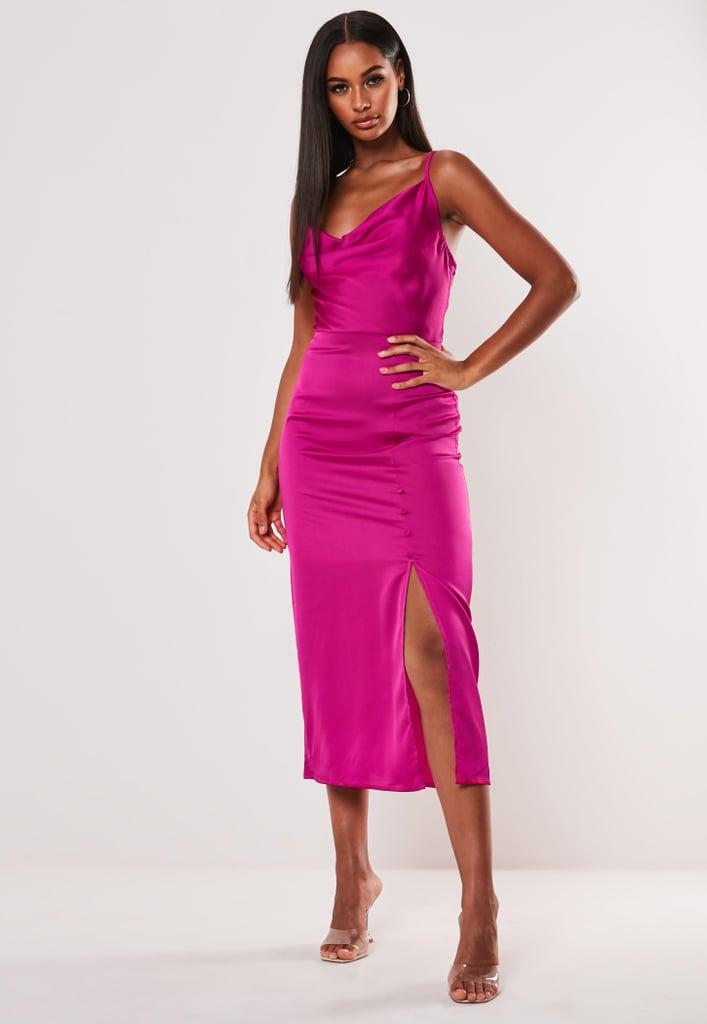 Pink Satin Button Side Midi Slip Dress