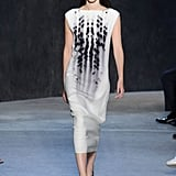 We could see her in this slouchy midi from Narciso Rodriguez's newest collection. Its faded pattern, though black and white, is somehow striking, and Michelle might even pair it with her flashy yellow pumps. Narciso Rodriguez Spring 2017.