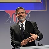 George Clooney talked to the attendees.
