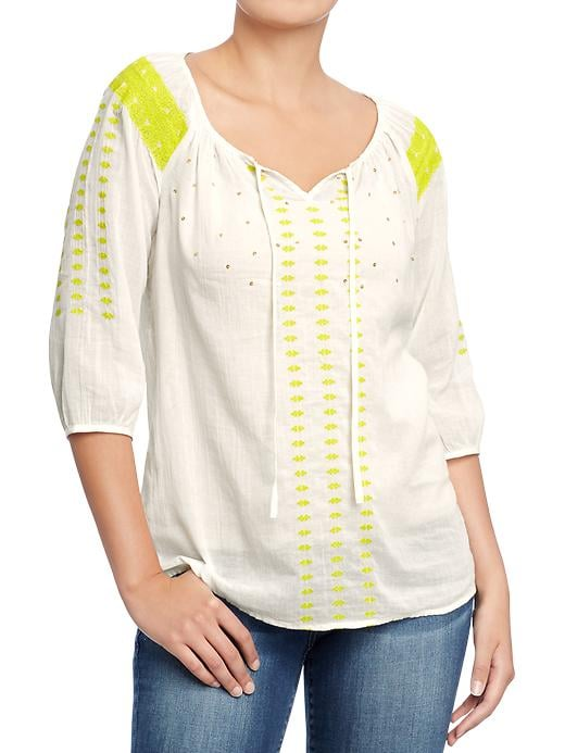 You can't even think about starting Summer without a bohemian-chic peasant top — we love this Old Navy Embroidered Gauze Blouse ($27).