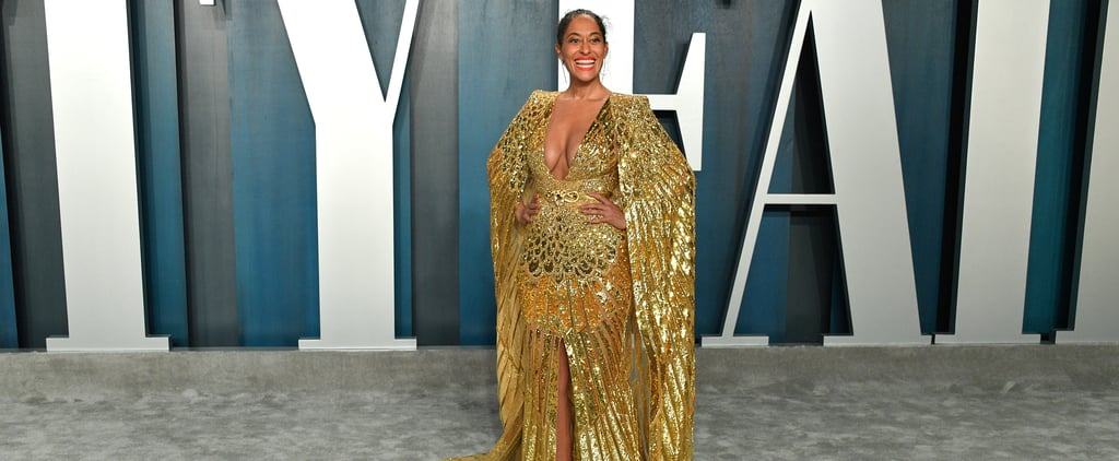 Tracee Ellis Ross Gold Dress Vanity Fair Oscars Party 2020