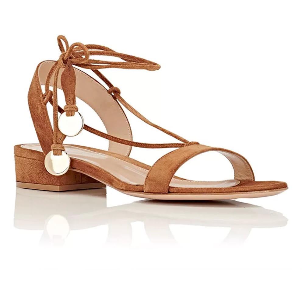 Gianvito Rossi Cherry Suede Ankle-Tie Flat Sandals