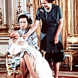 Peter's first official appearance was at his christening in December 1977, which took place in the music room at Buckingham Palace. How excited does the queen look about her new family member?
