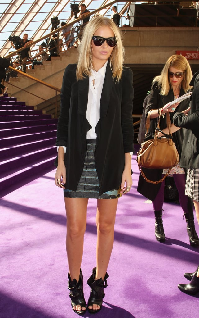 Lara Bingle played it cool in a long blazer and sunnies at Dion Lee in 2010.