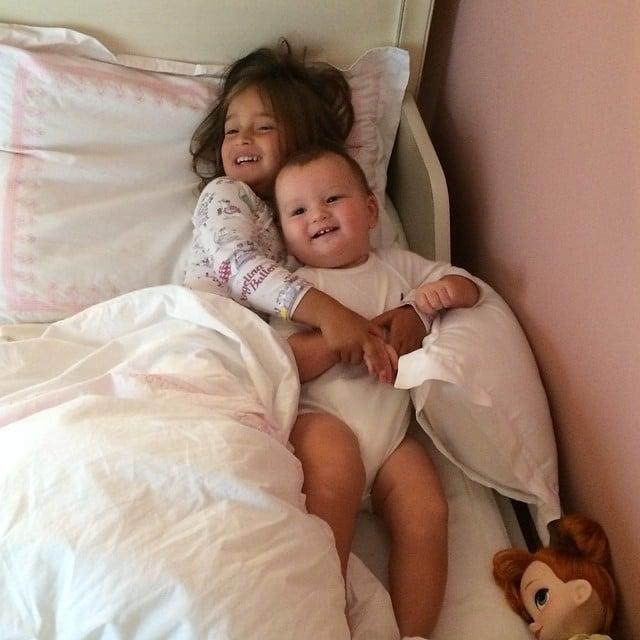 Joseph Kushner enjoyed a morning snuggle in his big sister, Arabella, in her bed. Source: Instagram user ivankatrump