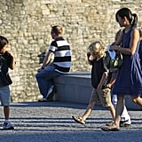 Pax and Shiloh go to the Tower of London with a nanny.