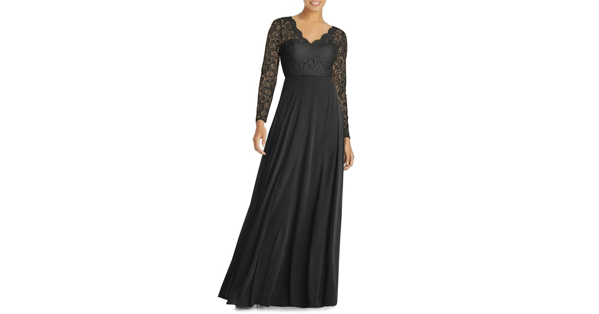 4506b370b1ee Dessy Collection Long Sleeve Lace   Chiffon Gown