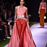 A Pink Dress Over Pants on the Brandon Maxwell Runway during New York Fashion Week