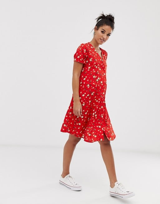New Look Maternity button front dress in red ditsy floral | ASOS