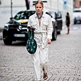 Go for a utilitarian look with a white jumpsuit.