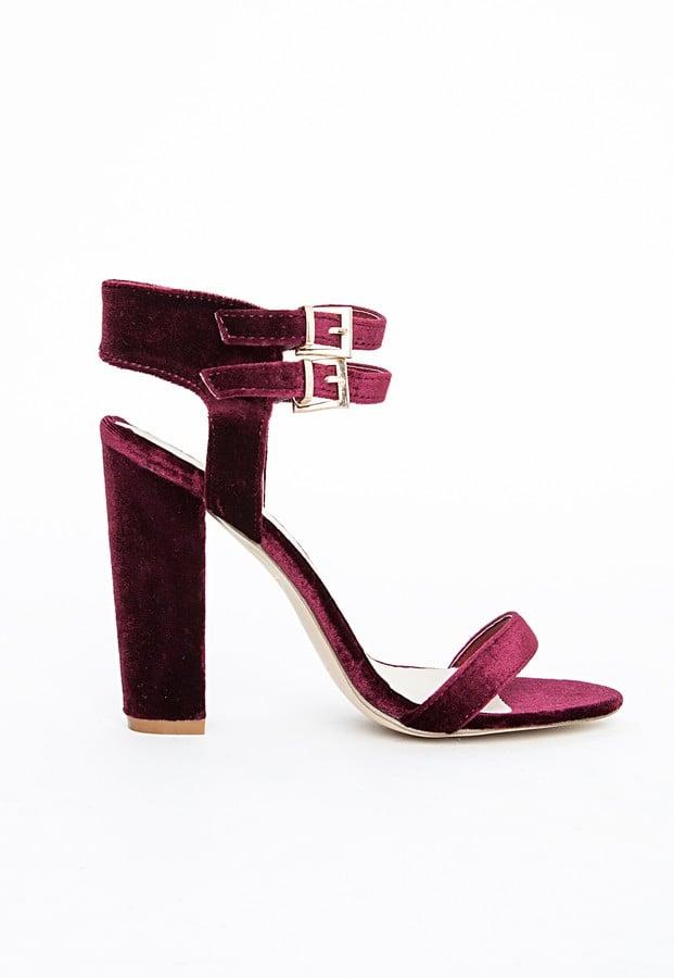 Kylie Cut Out Heeled Sandals Oxblood Velvet
