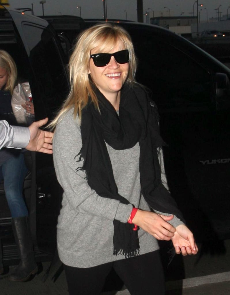 Reese Witherspoon looked cozy in a gray sweater.
