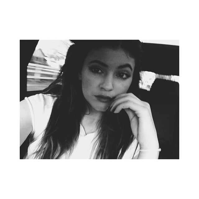 Kylie Jenner got pensive with a black and white filter. Source: Instagram user kyliejenner