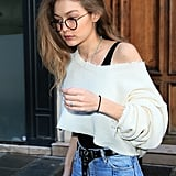 Gigi Hadid Wearing a Cropped Knit and Leotard in Paris