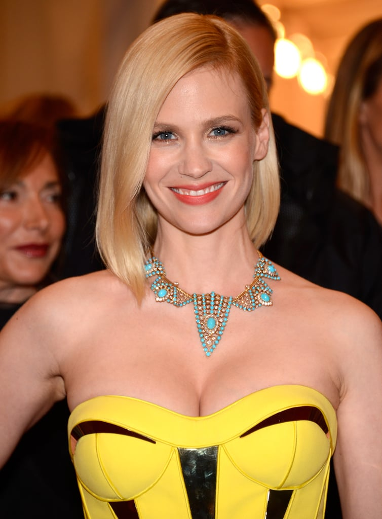 January Jones paired her Versace with a colorful necklace.