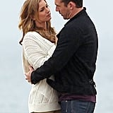 Emily VanCamp and costar Barry Sloane filmed a romantic scene on the beach together.