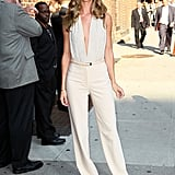 For an appearance on the Late Show With David Letterman in 2011, Rosie wore this white-hot halter jumpsuit by Michael Kors.