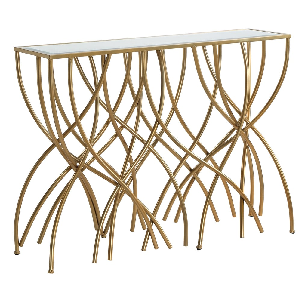 Melrose Gold Squiggly Leg Beveled Mirror Console