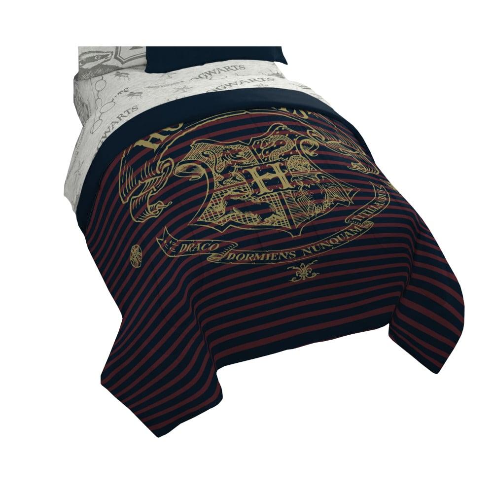 Spellbound Hogwarts Emblem Reversible Comforter With Gold Foil Design by Harry Potter