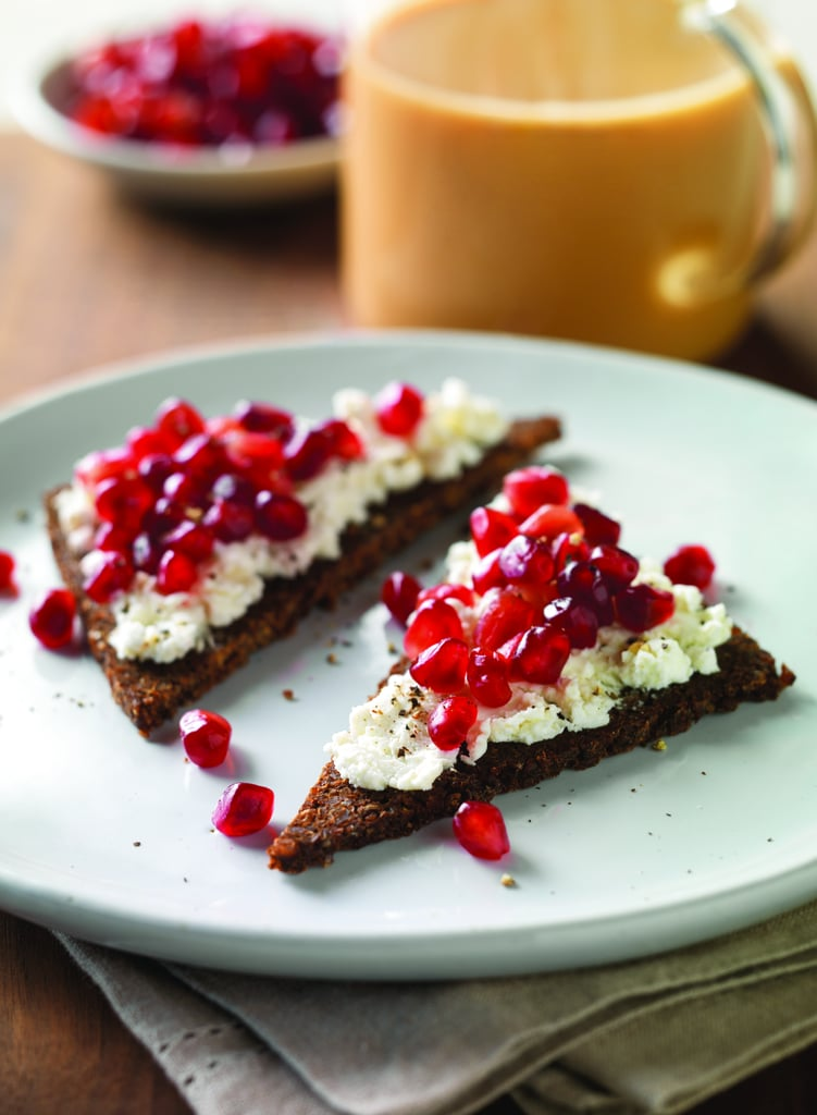 Pomegranate and Goat Cheese on Pumpernickel