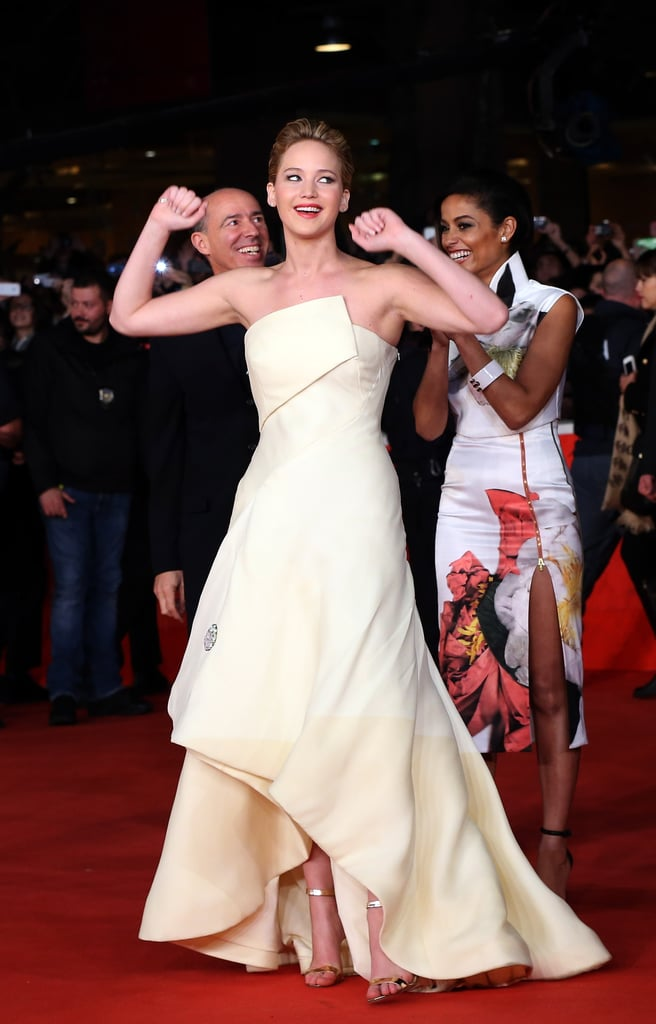 Jennifer Lawrence was full of energy on the red carpet for The Hunger Games: Catching Fire.