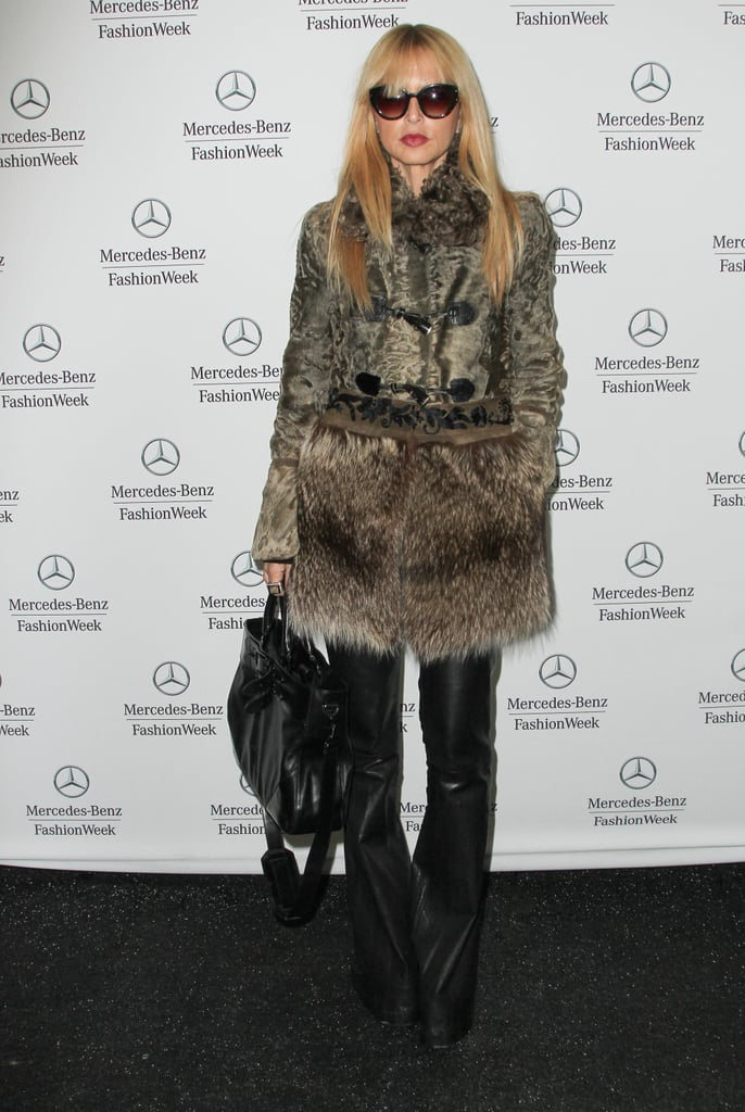 Rachel Zoe posed in a statement-making fur coat, black leather wide-leg pants, and a black bag at Mercedes-Benz Fashion Week at Lincoln Center.