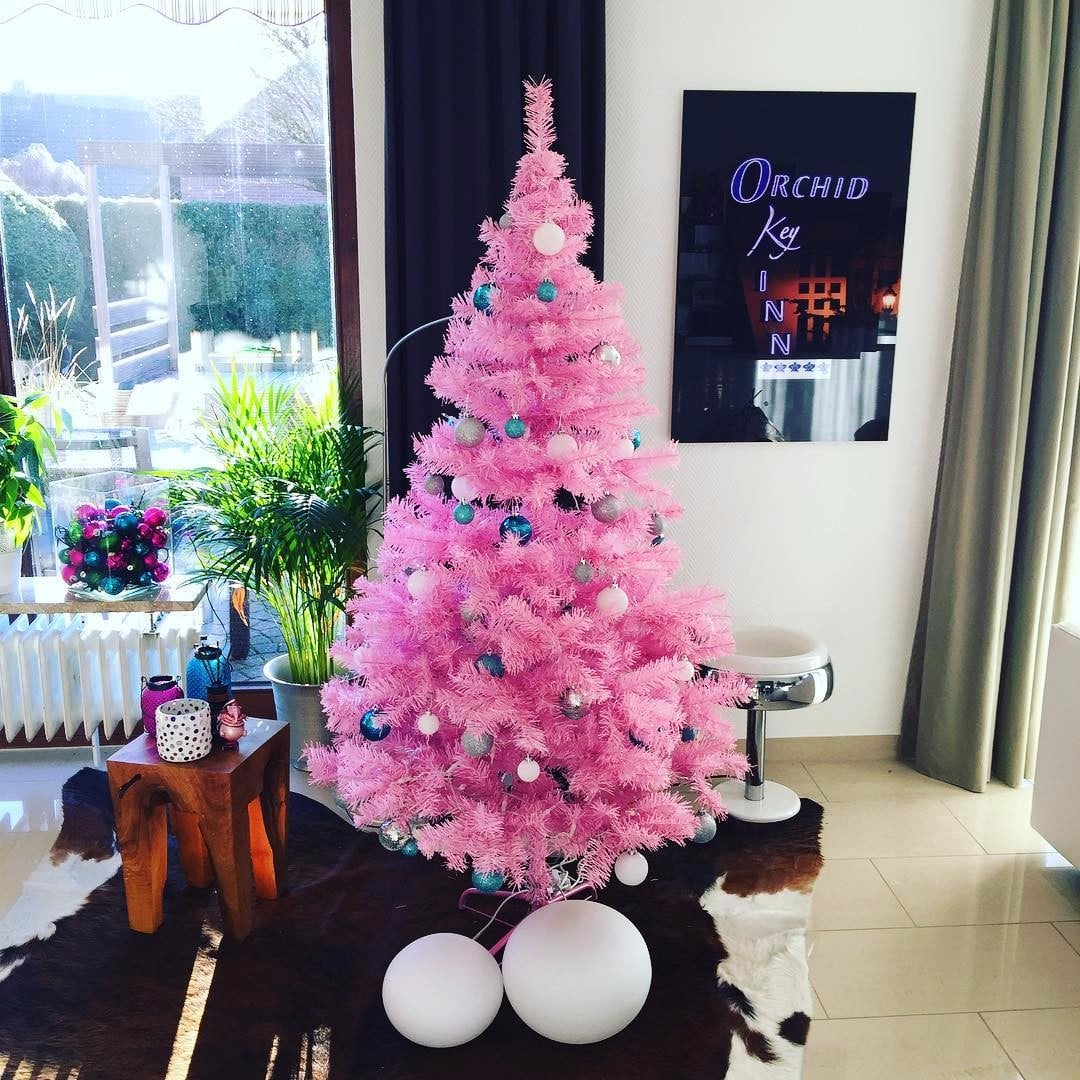 pink christmas tree ideas popsugar home