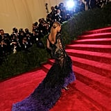 Beyoncé Knowles started up the stairs at the Met Gala in a Givenchy design.
