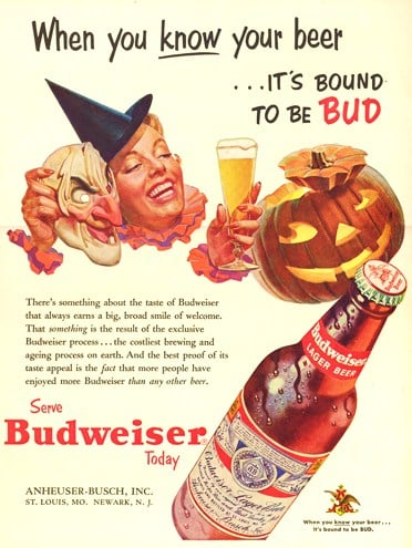 When you drink Bud all night, you won't even need a mask to have a creepy drunk face!