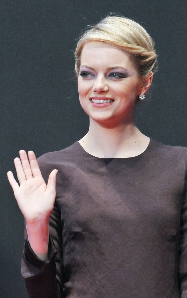 Emma Stone waved at The Amazing Spider-Man premiere in Japan.