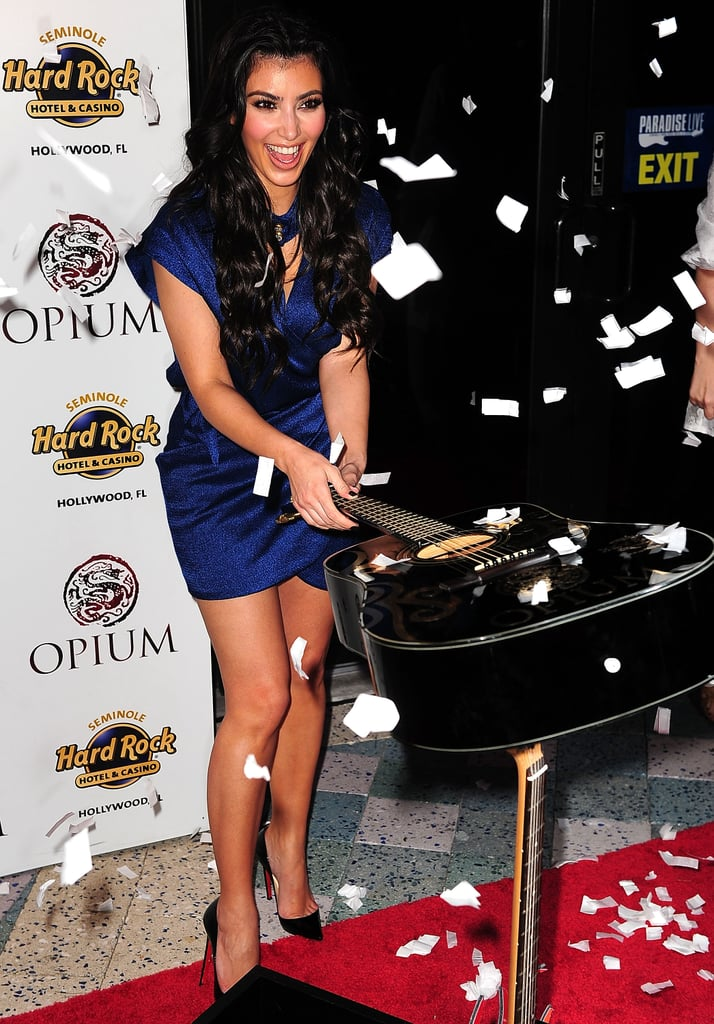 She smashed a guitar (on purpose) at the grand opening of Seminole Hard Rock Hotel in Florida back in April 2009.