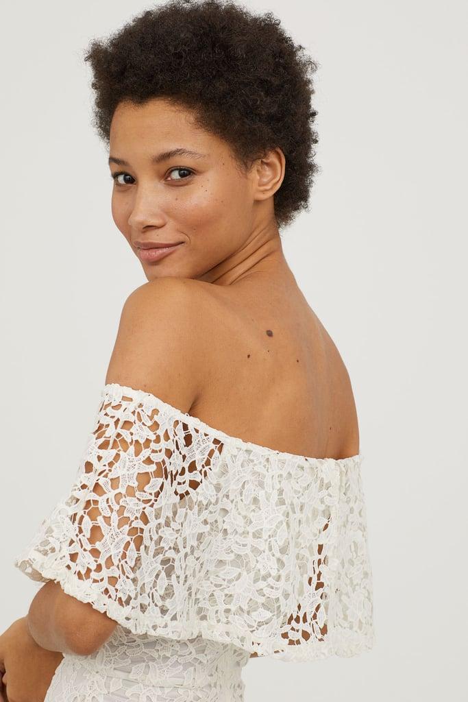 e82b035097985 H&M Lace Off-the-Shoulder Dress | Lady Gaga Sheer Crochet Dress ...