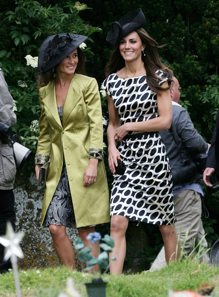 It's been quite a day for Kate Middleton! Kate Middleton and Prince William attended the Queen's birthday celebration earlier today, and this afternoon the Duchess of Cambridge changed her dress, but kept her fascinator, to join her sister Pippa at their friend's wedding. Kate and Pippa were both in black pumps and summery dresses to watch jockey Sam Waley Cohen and his bride Bella Ballin tie the knot in Berkshire, UK. Princess Beatrice and her boyfriend Dave Clark also attended the ceremony. The groom reportedly played a crucial role in the relationship of Kate and Prince William, since Sam is credited with bringing the couple back together when they briefly split. Sam and Bella have been longtime friends of Kate and Will and were on the guest list for the royal wedding in April. Kate made her first official royal appearances this week as well, stepping out in a stunning Jenny Packham gown for the ARK dinner on Thursday.