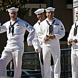 Seamen clowned around while waiting for the bus in San Francisco.  Source: Flickr User sfjase