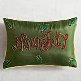 Green Naughty and Nice Lumbar Pillow ($30)