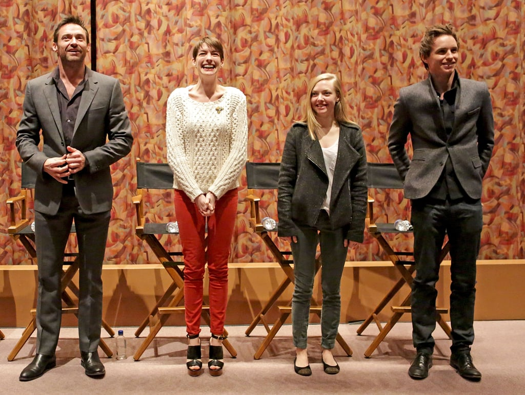 The Les Misérables crew got together in LA yesterday for a special Q&A session following a screening of their Tom Hooper-directed musical for the Screen Actors Guild. Amanda Seyfried, Eddie Redmayne, Anne Hathaway, and Hugh Jackman spoke about their work on the project. It was a big week for the Les Mis gang. Despite the fact that it's not hitting theaters until Christmas Day, Dec. 25, Les Misérables had already garnered award season love. Anne and Hugh both received Golden Globe and SAG nominations for their roles, and the film's in the running for best musical or comedy at the Globes.