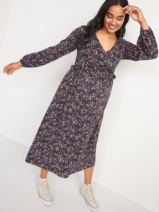 Old Navy Maternity V-Neck Blouson-Sleeve Midi Swing Dress
