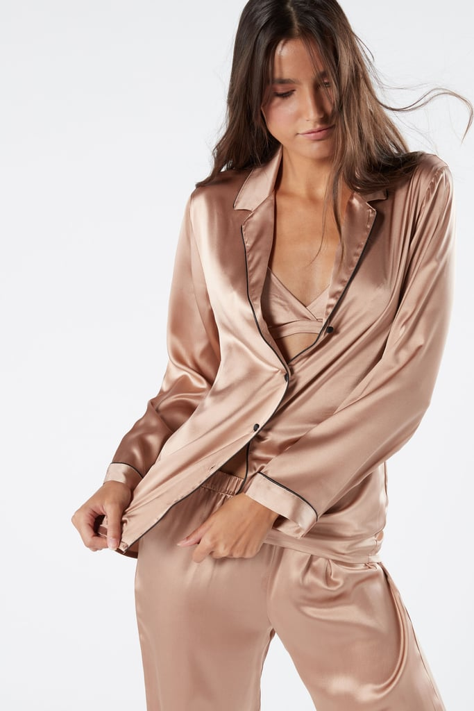 Silk Satin Boyfriend-fit Pajama Top