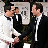 Ty Burrell of Modern Family shakes hands with David Duchovny.