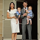 Mary held on to Josephine and Frederik carried Vincent on the steps of Admiralty House in Sydney at the start of their official Australian tour in Nov. 2011.