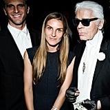 Gaia Repossi and Karl Lagerfeld played up their black ensembles with bold jewels.