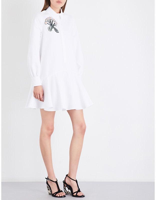 Alexander McQueen Floral-Embroidered Shirt Dress