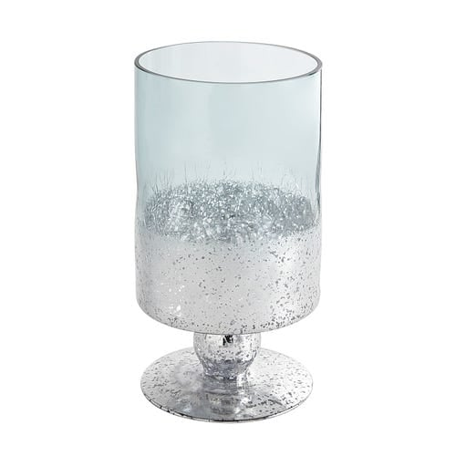 Medium Blue Mercury Glass Hurricane Candle Holder