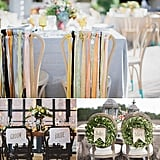 """Once you've said your """"I dos,"""" consider celebrating your first meal as husband and wife with custom chair backs — DIY, of course. Fit for any theme, the options are endless: ribbons, wreaths, and recycled wood are just a few of POPSUGAR Home's favorite ideas."""