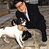 Pictured here with his beloved French Bulldog Moujick.