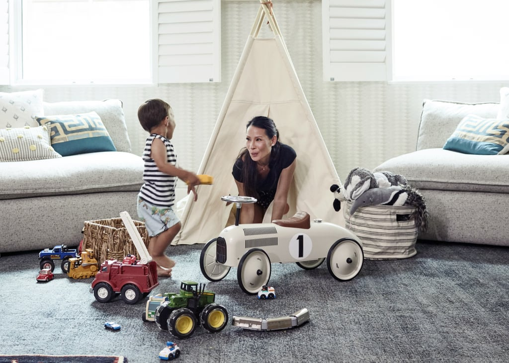 Award-winning actress and director Lucy Liu has played many roles in her life — one of our favorites is the one from that epic Birkin battle with Samantha in Sex and the City — but these days, she has a new and adorable focus: her son Rockwell. The almost-2-year-old has entered into toddlerhood, and Lucy felt it was time to makeover his playroom space to better suit his new phase of life. With the help of One Kings Lane lead designer Nicole Fisher, Lucy was able to bring her stunning vision to life, creating a space that is perfect for Rockwell while still remaining sophisticated and adult-friendly. Read on as we chat with both Lucy and Nicole about their inspiration behind the stunning finished product and learn how you too can achieve a similar look.