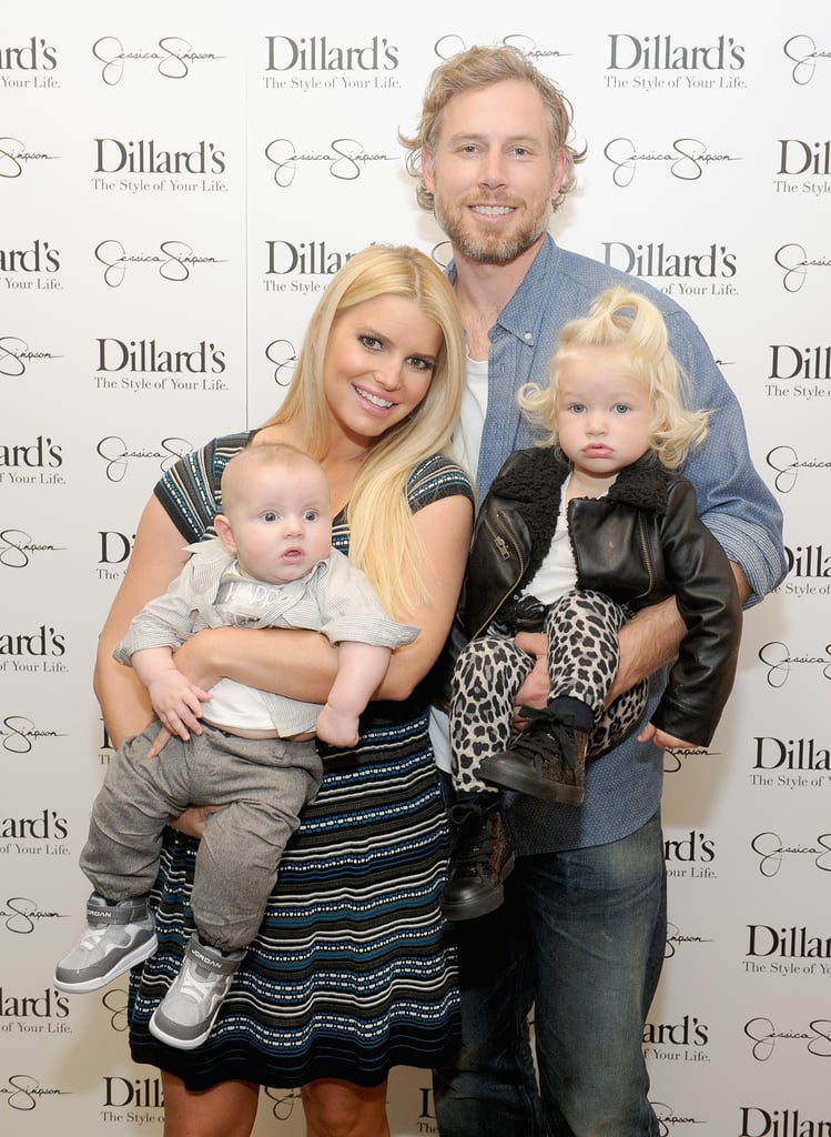 Little Ace Johnson is turning into quite the little man! Jessica Simpson brought her whole family — including little son Ace and daughter Maxwell — down to Dallas, Texas, on Saturday to promote her clothing line at Dillard's. This is the first time we've seen Ace in nearly two months — Jessica last shared a photo of Ace when he turned 3 months old in late September. Now that Ace is preparing to hit the five-month mark (he was born on June 30), he is starting to look more and more like his dad. Their similarities were even more apparent when Eric carried Ace through LAX for their trip to Dallas on Friday. A week earlier, Jessica, Eric and Maxwell attended a birthday party for Ashlee Simpson's son, Bronx. The Simpson family was joined by Ashlee Simpson's boyfriend, Evan Ross, and Bronx's dad, Pete Wentz, and his girlfriend, Meagan Camper.